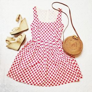 Delia*s  White/Pink Polka Dot Print Summer Dress